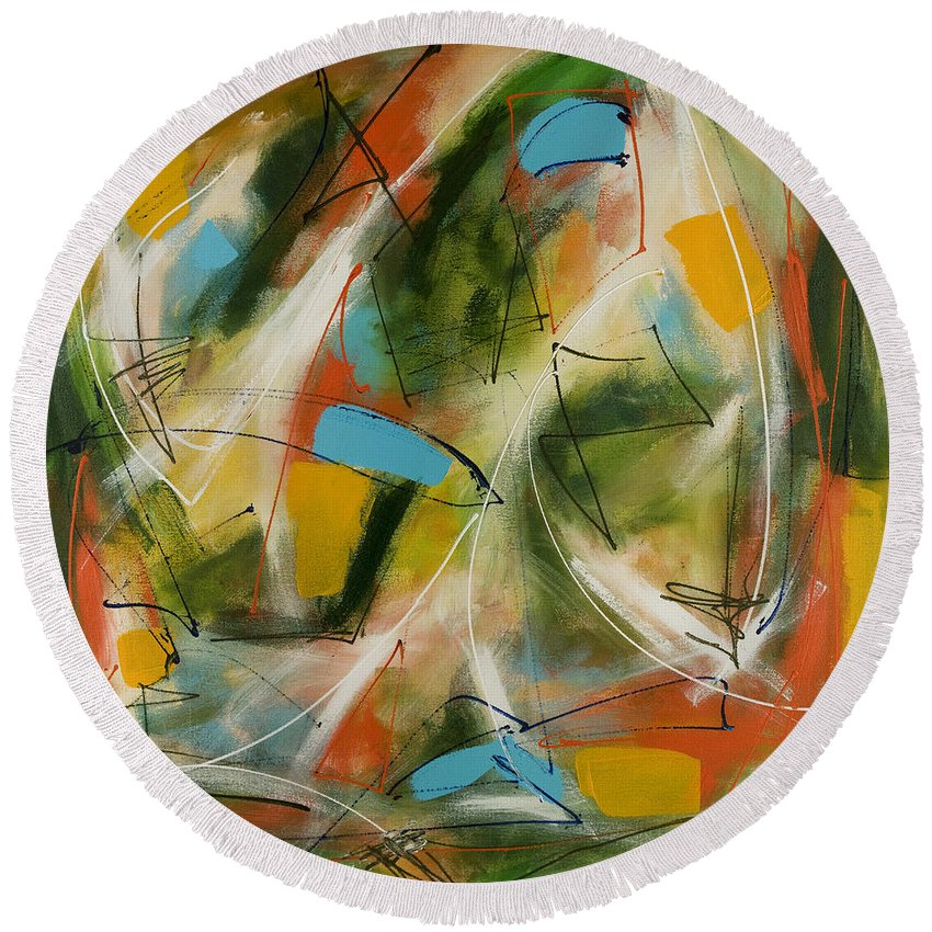 Abstract Round Beach Towel featuring the painting Day And Night Two by Lynne Taetzsch