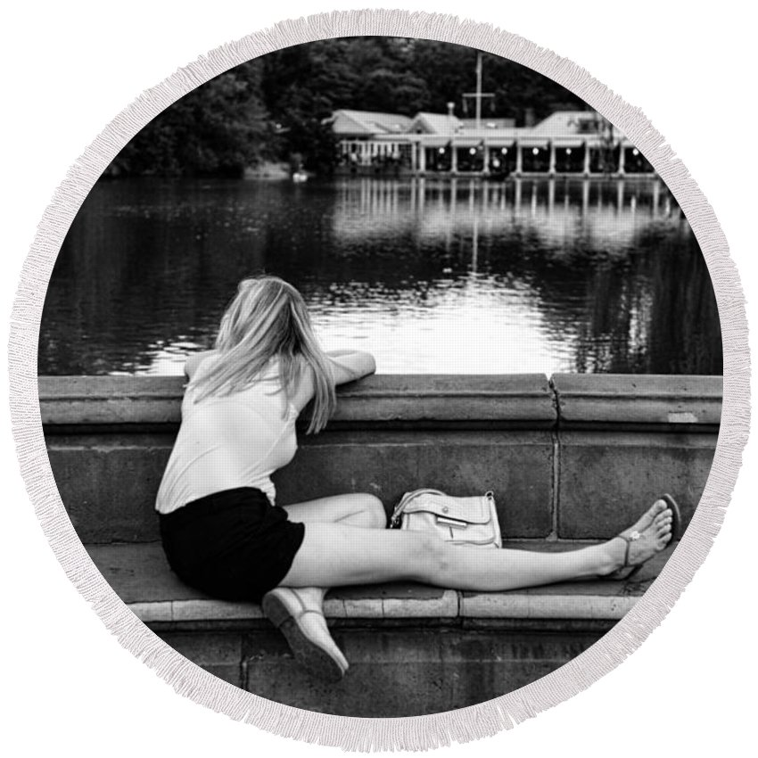 Black And White Round Beach Towel featuring the photograph Day Dreamer by Paul Ward