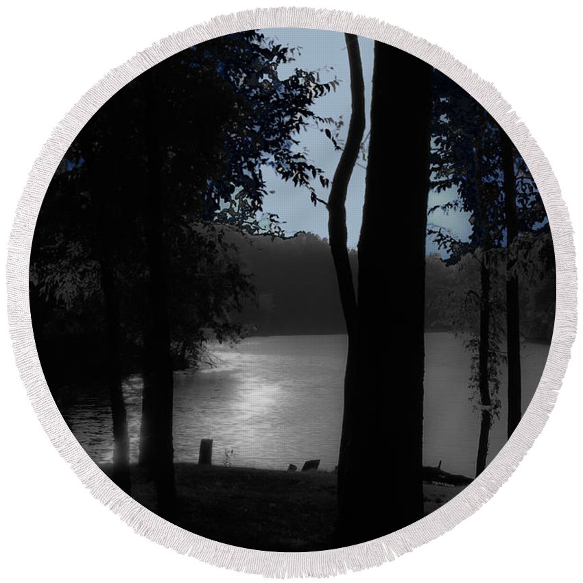 Lake Round Beach Towel featuring the photograph Day Or Night by DigiArt Diaries by Vicky B Fuller