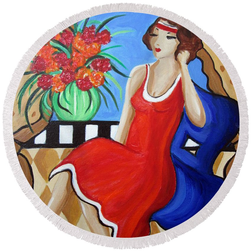 Whymsical Round Beach Towel featuring the painting Daydreaming by Rosie Sherman