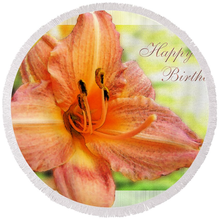 Nature Round Beach Towel featuring the photograph Daylily Greeting Card Birthday by Debbie Portwood