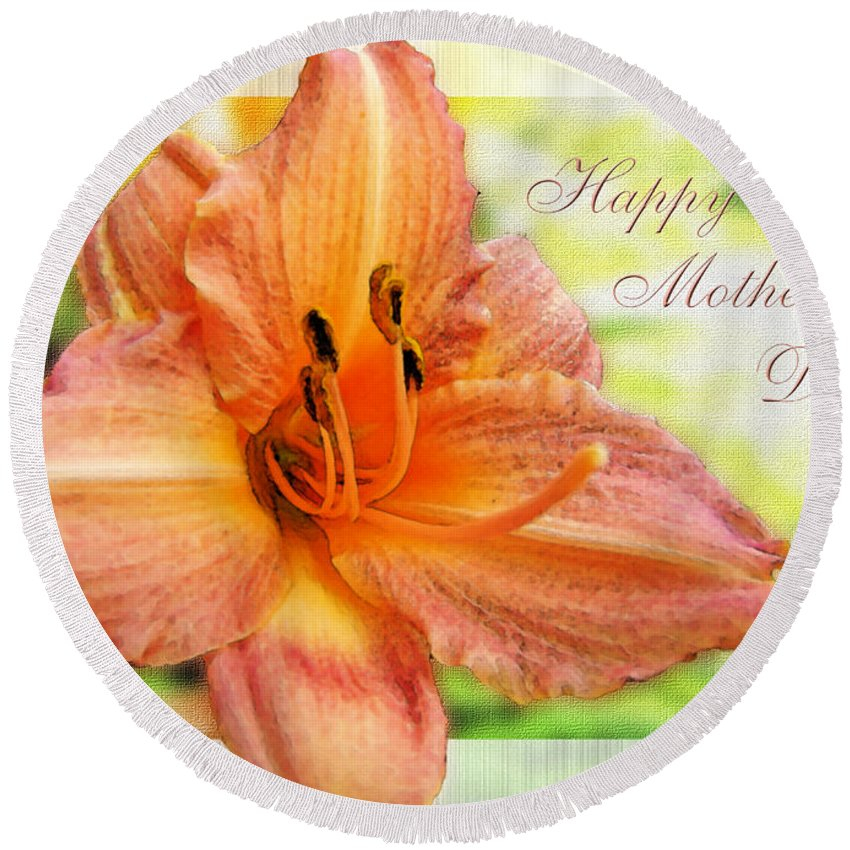 Nature Round Beach Towel featuring the photograph Daylily Greeting Card Mothers Day by Debbie Portwood
