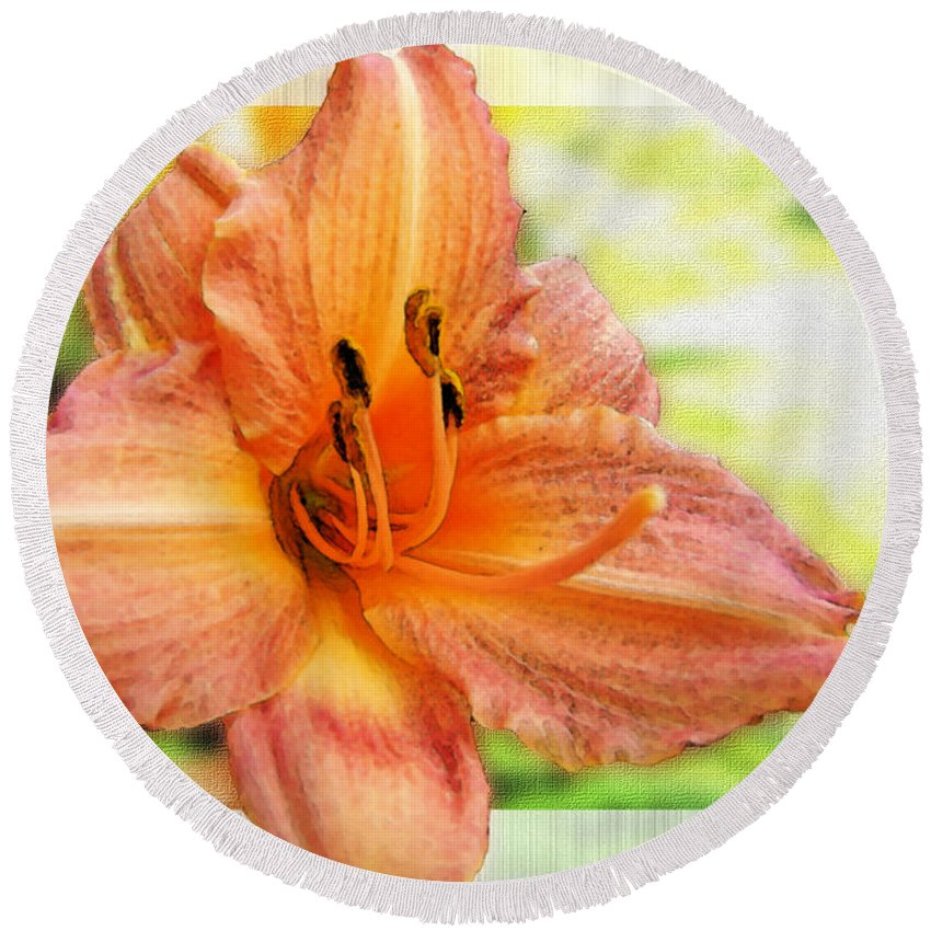 Nature Round Beach Towel featuring the photograph Daylily Greeting Dard Blank by Debbie Portwood
