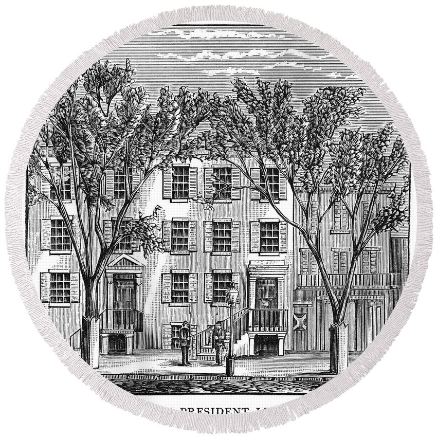 1886 Round Beach Towel featuring the photograph D.c.: Petersen House by Granger