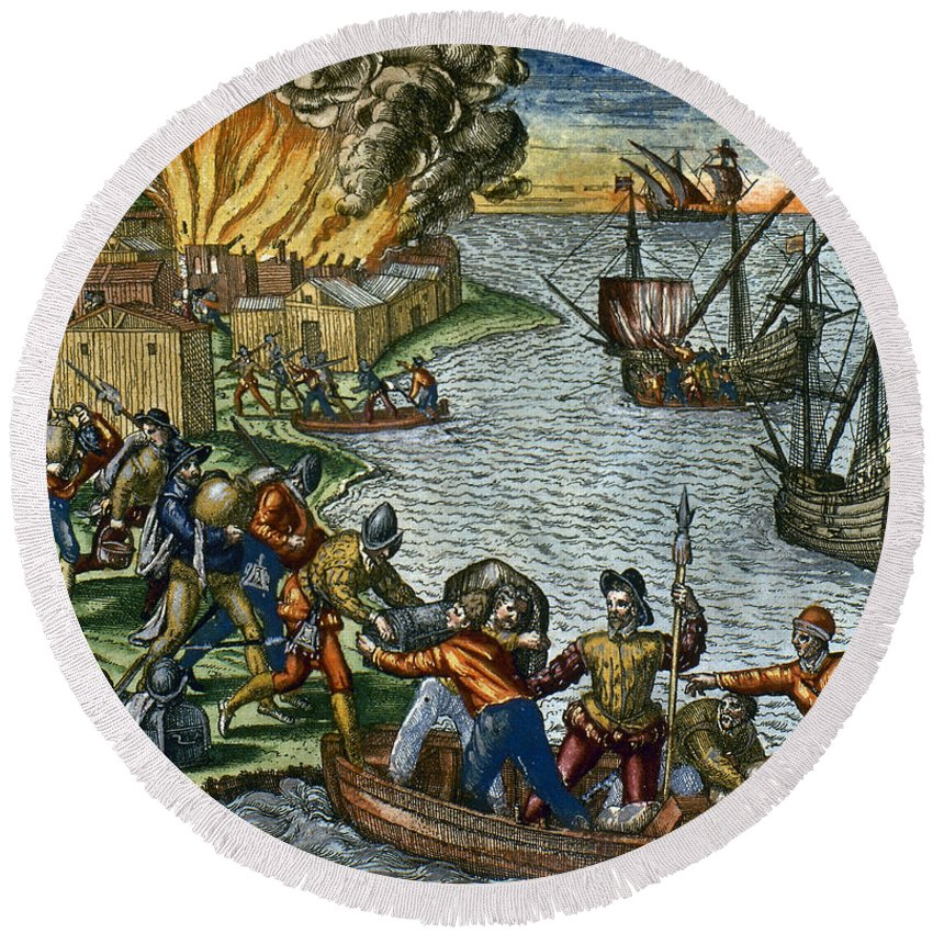 1590 Round Beach Towel featuring the photograph De Bry: Chicora, 1590 by Granger