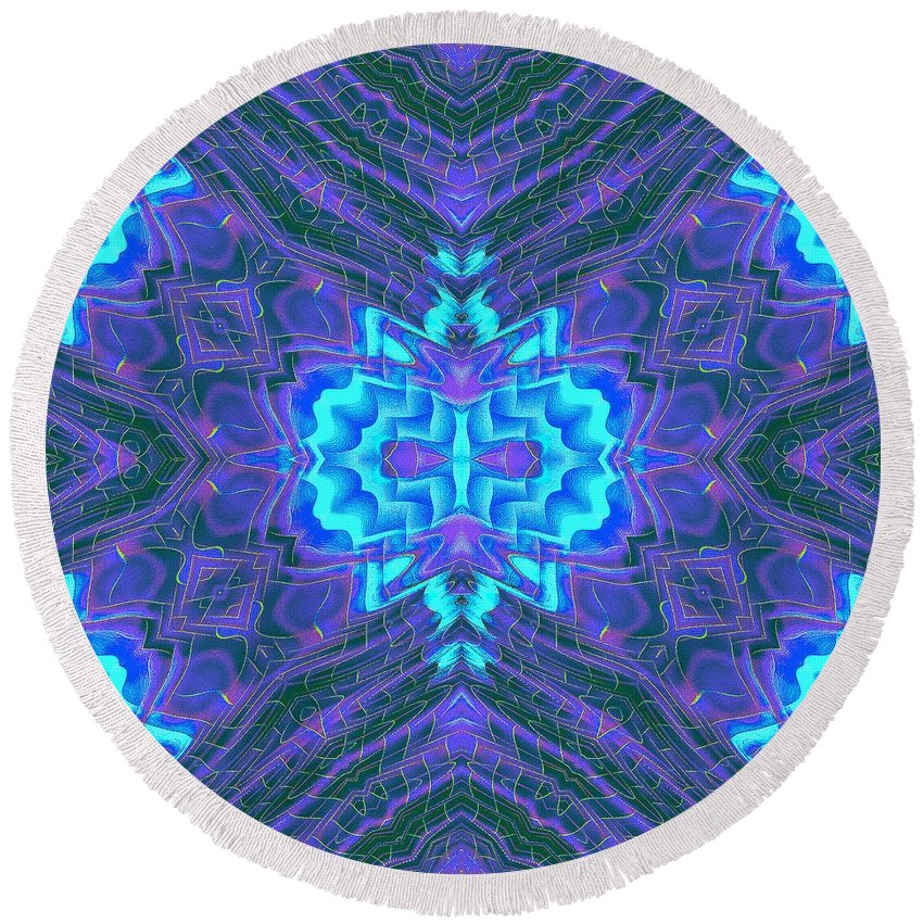 Ice-blue And Purple 3d Mandala Round Beach Towel featuring the mixed media Deadlynightshadeicefishing by Richard Jones