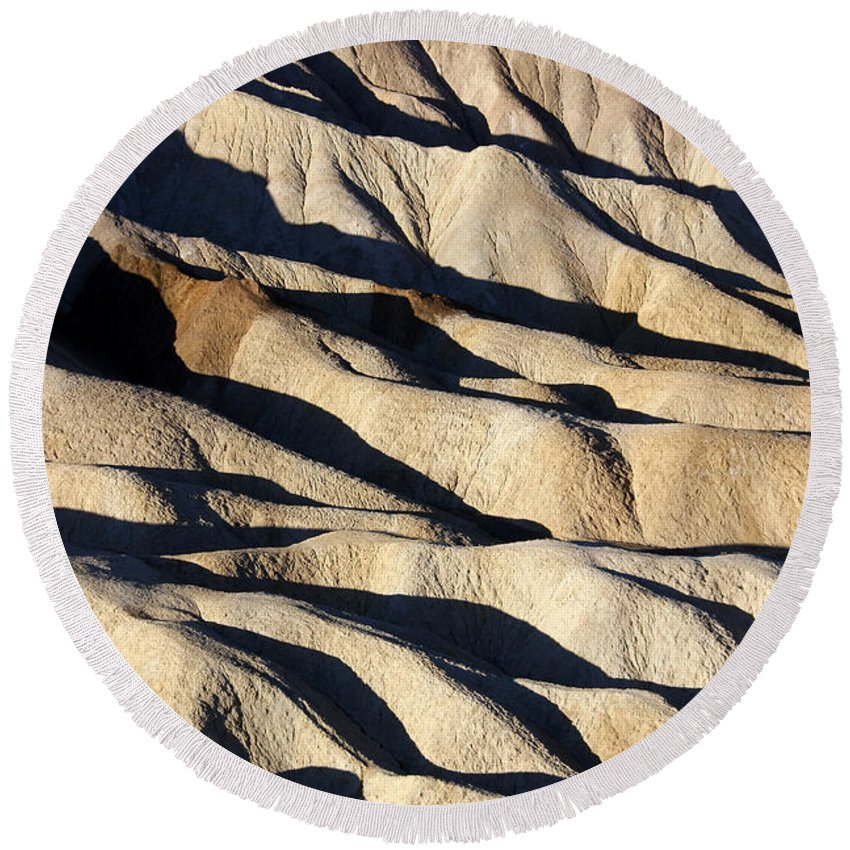 Death Valley Erosion Round Beach Towel featuring the photograph Death Valley Erosion by Wes and Dotty Weber
