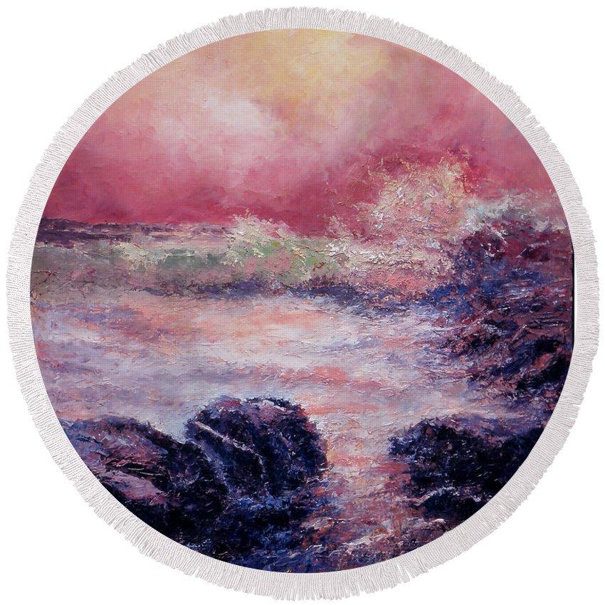 Australian Art Round Beach Towel featuring the painting Dee Why Storm by Giro Tavitian