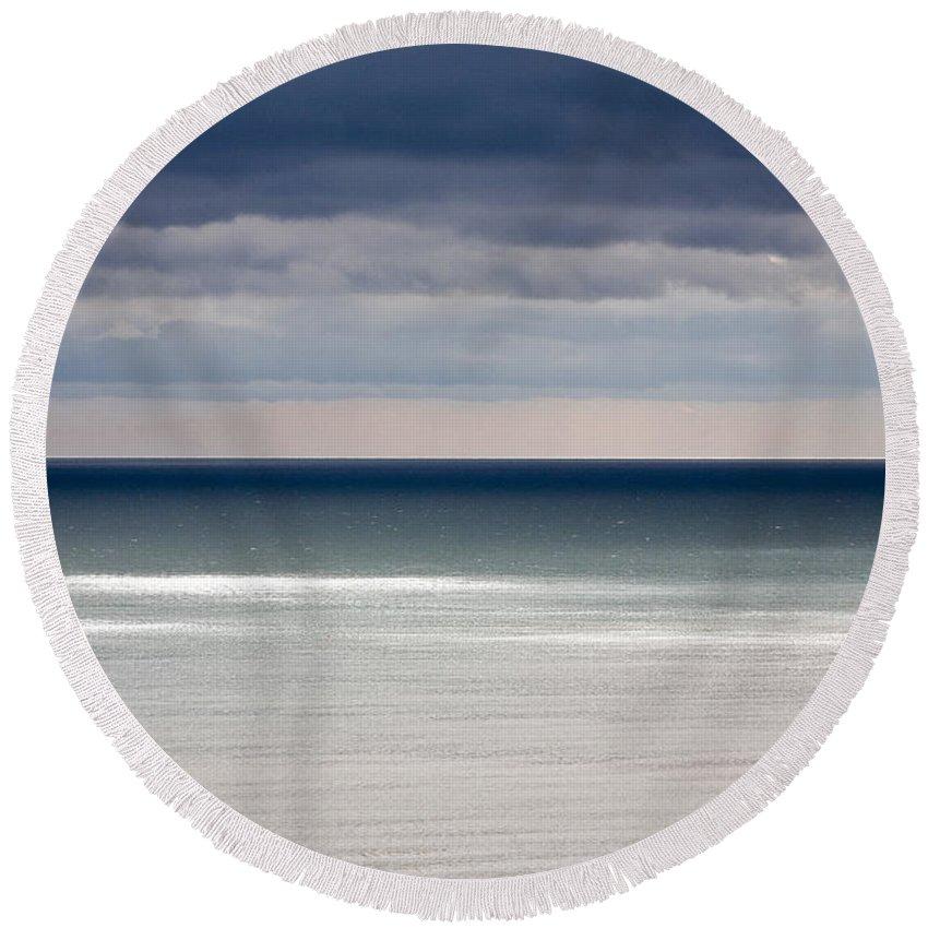 Water Round Beach Towel featuring the photograph Deep Horizon by Heiko Koehrer-Wagner
