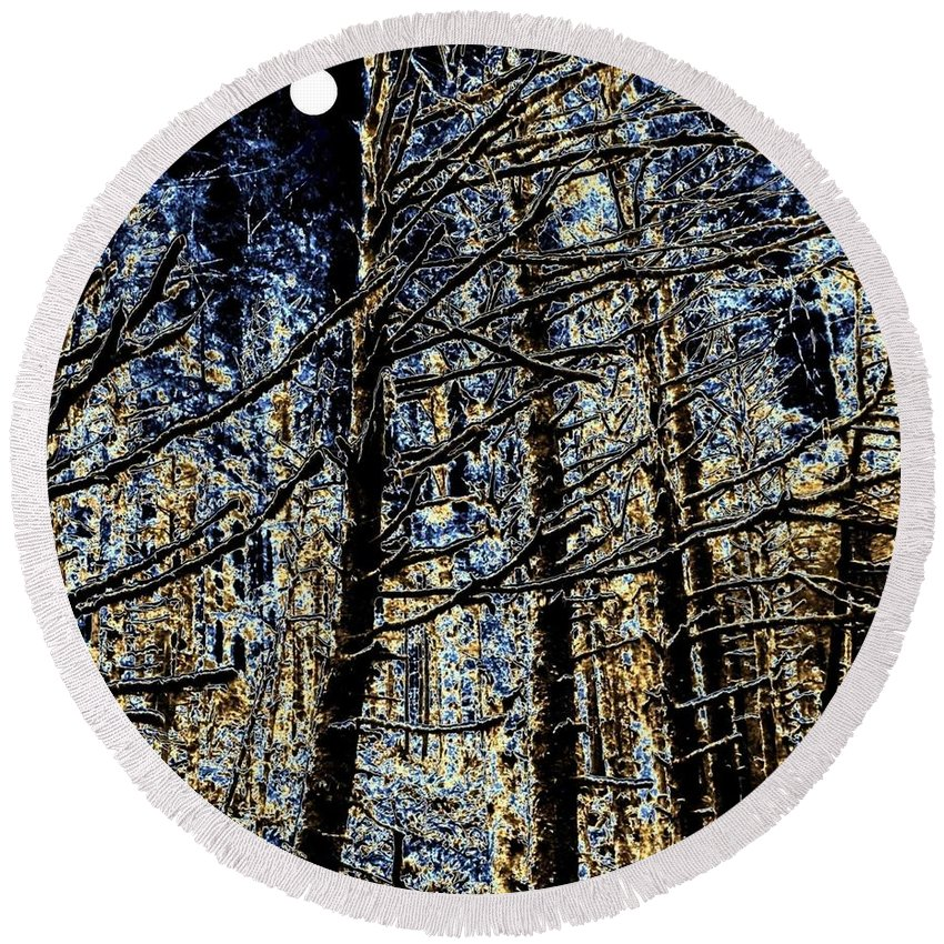 Deep In The Moonlit Forest Round Beach Towel featuring the digital art Deep In The Moonlit Forest by Will Borden