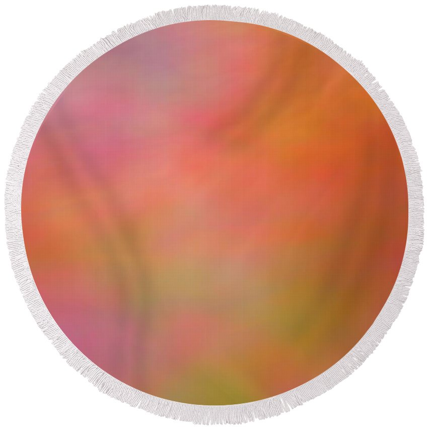 Colorful Abstract Round Beach Towel featuring the digital art Delight by Christy Leigh