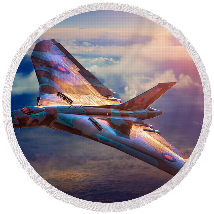 Aircraft Round Beach Towel featuring the photograph Delta Lady by Chris Lord