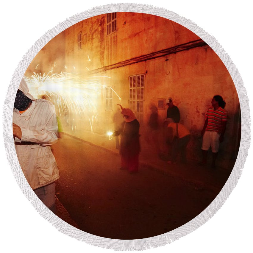 Fuego Round Beach Towel featuring the photograph Demons In The Street by Agusti Pardo Rossello