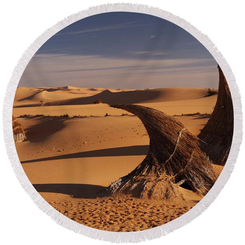 Desert Round Beach Towel featuring the photograph Desert Luxury by Ivan Slosar