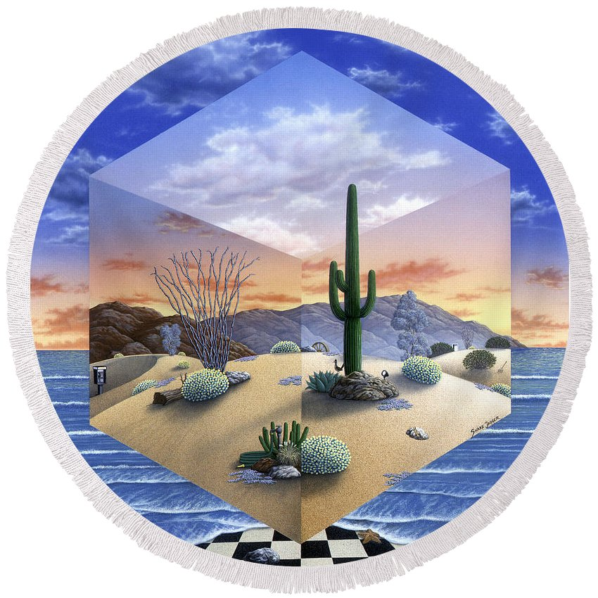 Desert Round Beach Towel featuring the painting Desert on My Mind 2 by Snake Jagger