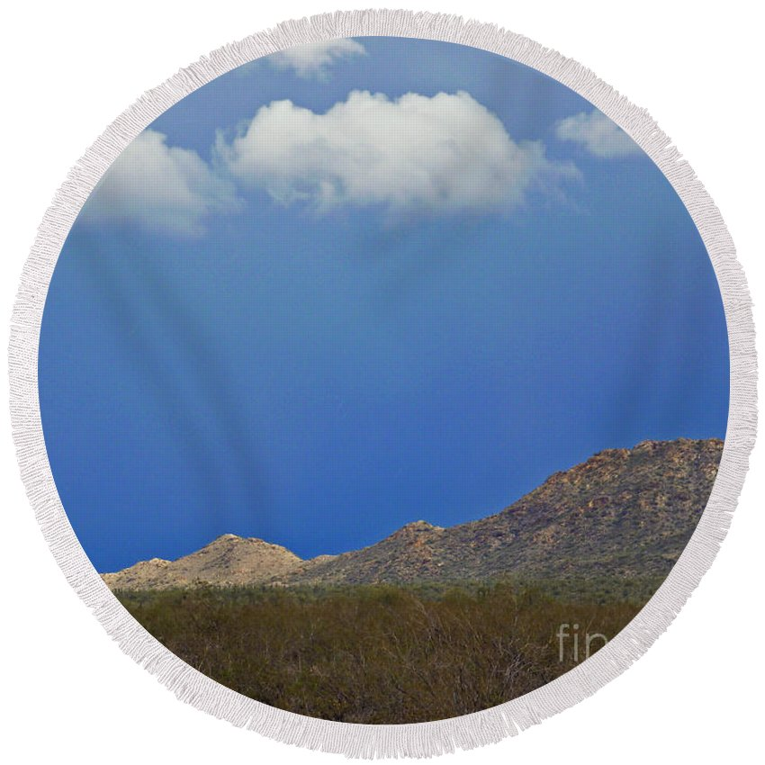 Desert Rain Round Beach Towel featuring the photograph Desert Rain by Methune Hively