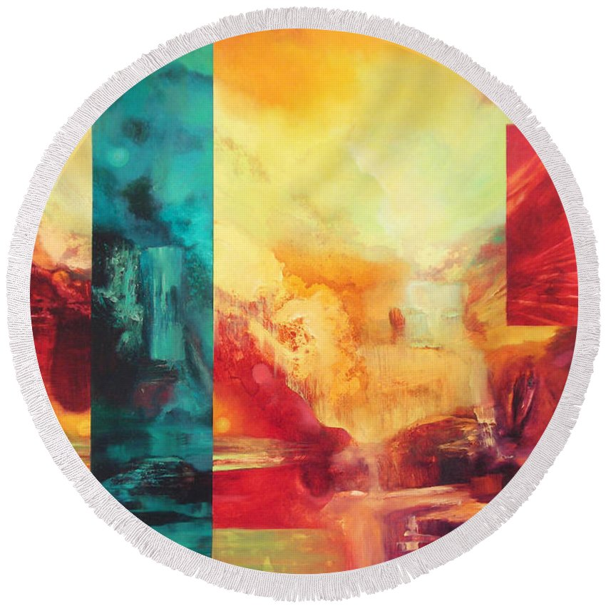 Abstract Round Beach Towel featuring the painting Designed Providence by C J Elsip