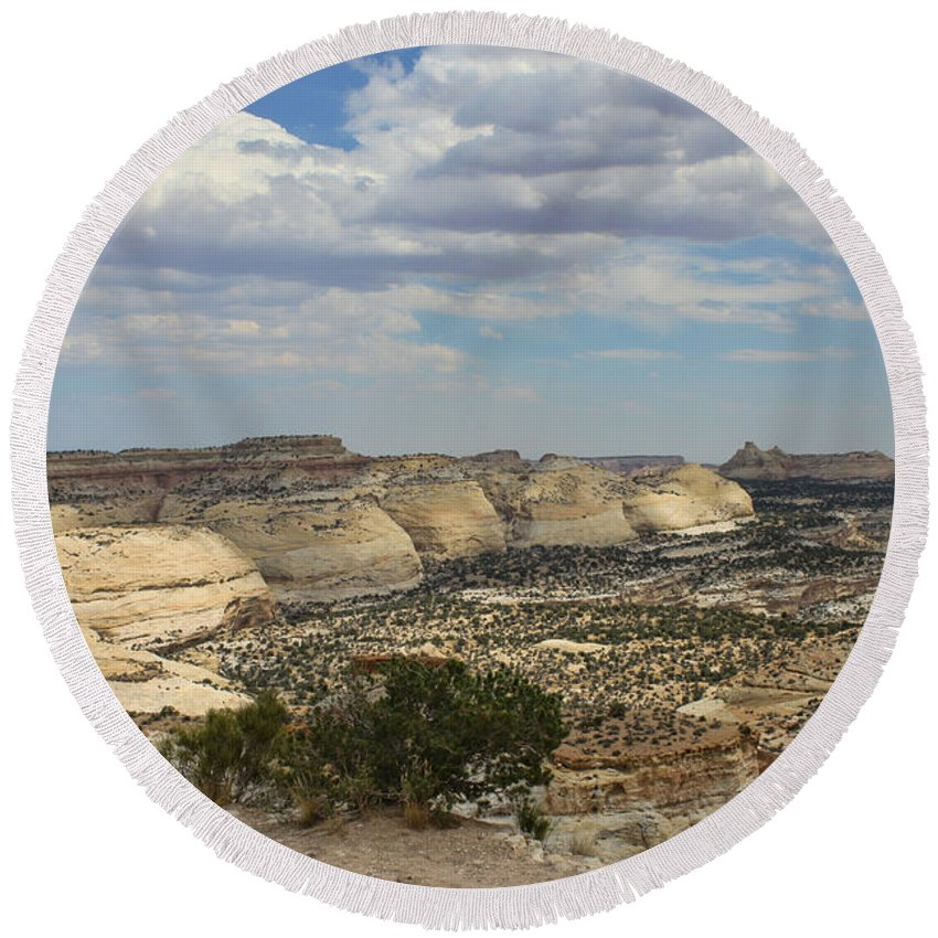 Devils Canyon Round Beach Towel featuring the photograph Devils Canyon Utah by Tommy Anderson