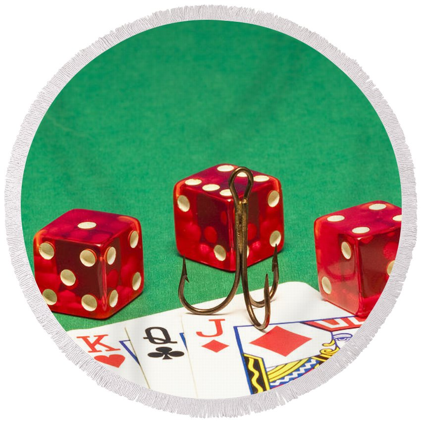 Red Round Beach Towel featuring the photograph Dice Red Cards Hook 1 B by John Brueske