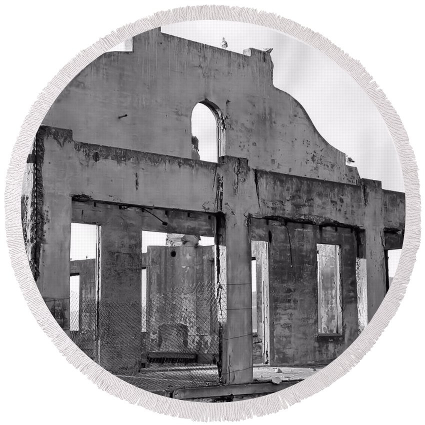 Architecture Round Beach Towel featuring the photograph Dilapidated by Jenny Hudson