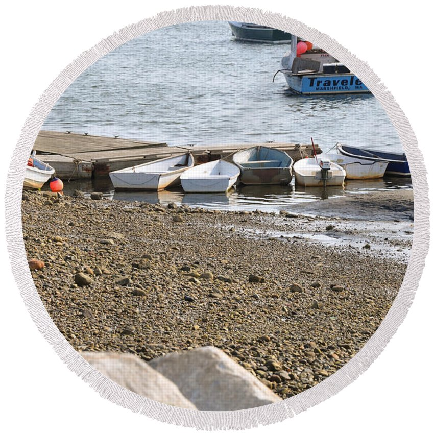Dinghies Round Beach Towel featuring the photograph Dinghies At Green Harbor by Christine Stonebridge
