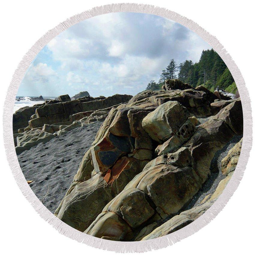 Seascape Round Beach Towel featuring the photograph Dinosauer by Lauren Leigh Hunter Fine Art Photography