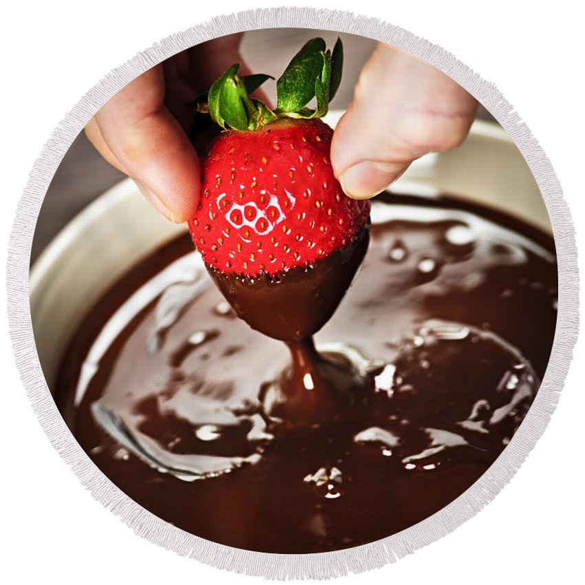 Strawberry Round Beach Towel featuring the photograph Dipping Strawberry In Chocolate by Elena Elisseeva