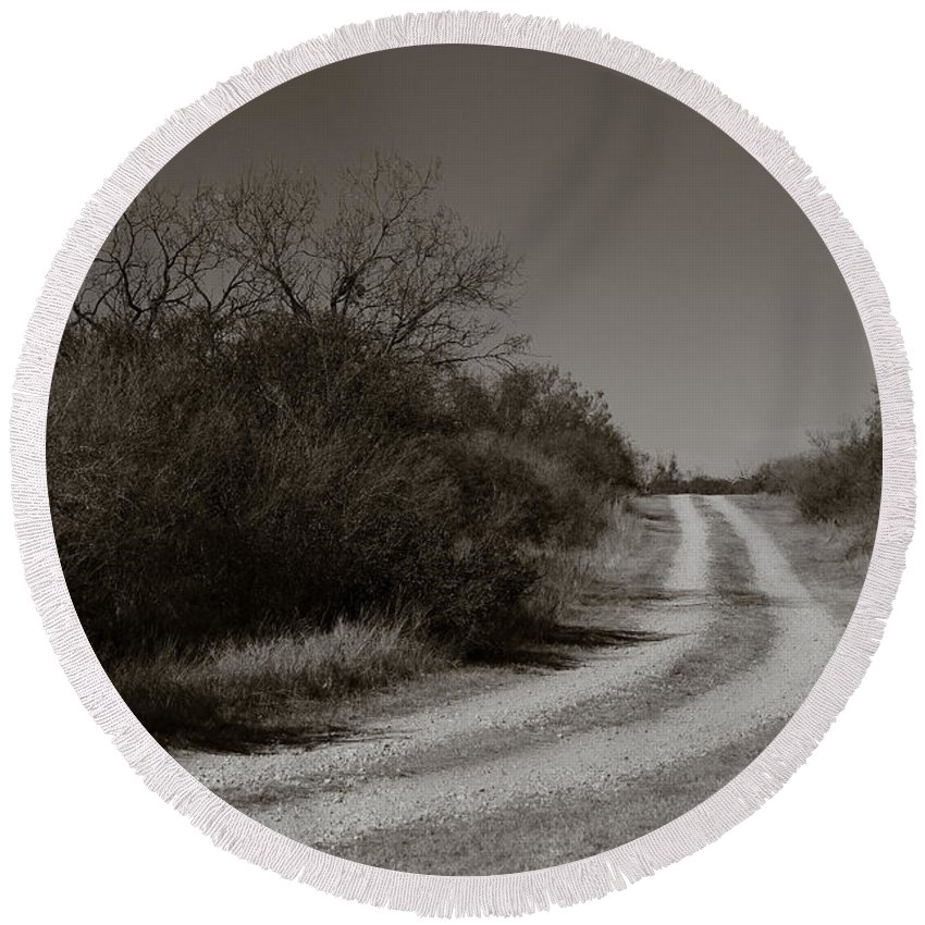 Black And White Round Beach Towel featuring the photograph Dirt Road by Sean Wray
