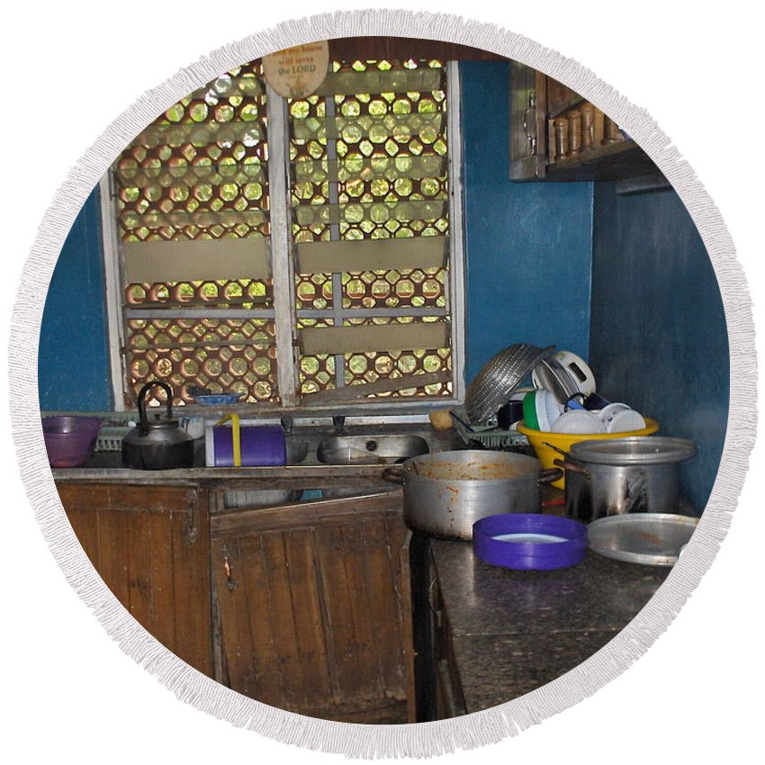 Kitchen Round Beach Towel featuring the photograph Dirty Dishes Nigeria by Amy Hosp
