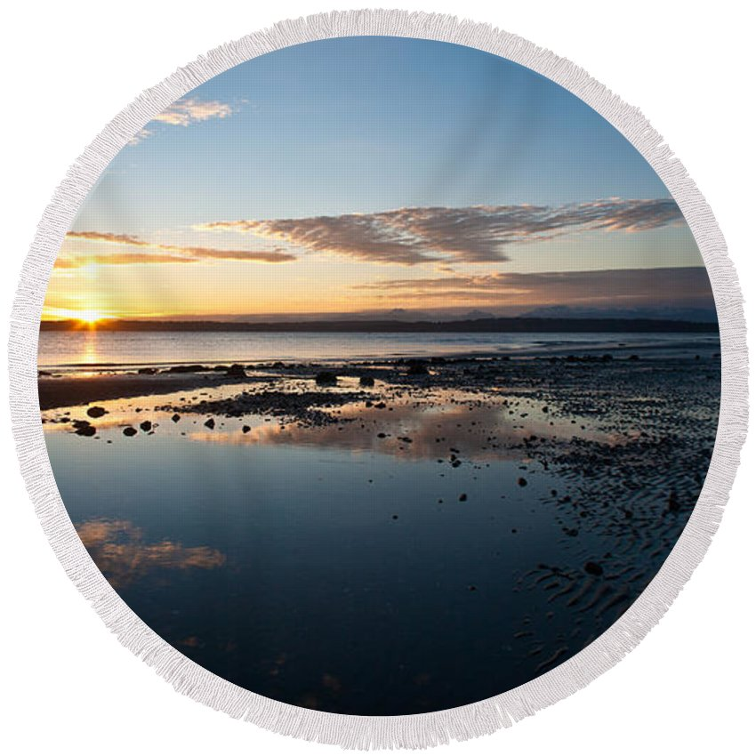 Discovery Park Round Beach Towel featuring the photograph Discovery Park Reflections by Mike Reid