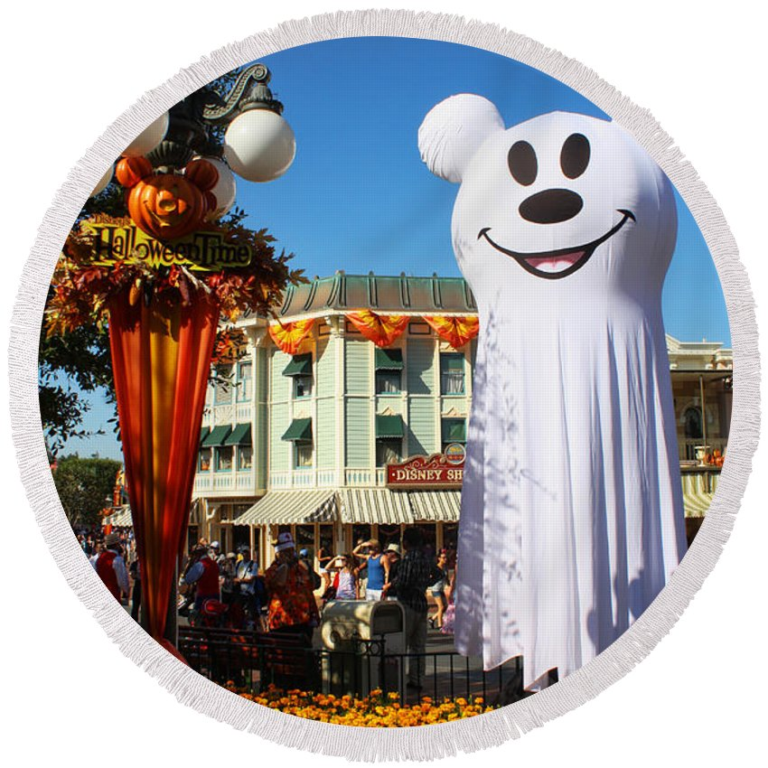 Disneyland Round Beach Towel featuring the photograph Disneyland Halloween 1 by Tommy Anderson