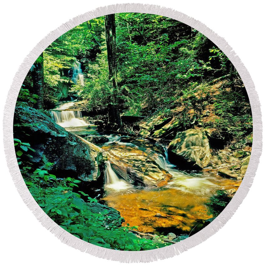 Pennsylvania Round Beach Towel featuring the photograph Distant Ozone Falls And Rapids - Summer by Rich Walter