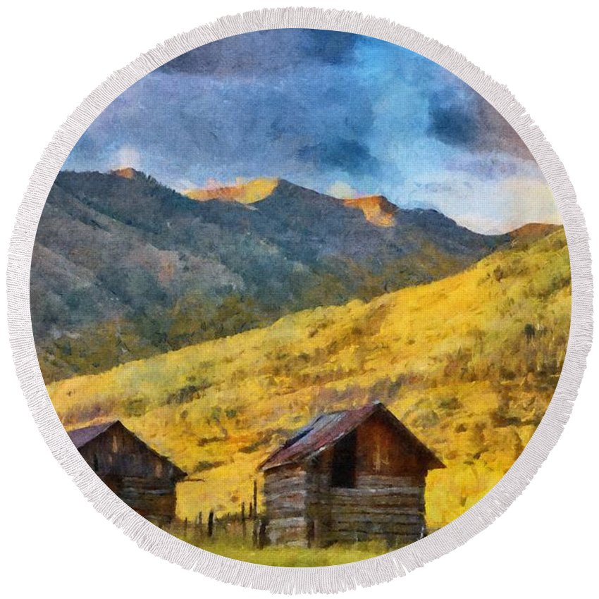Colorado Round Beach Towel featuring the painting Distant Storm by Jeffrey Kolker