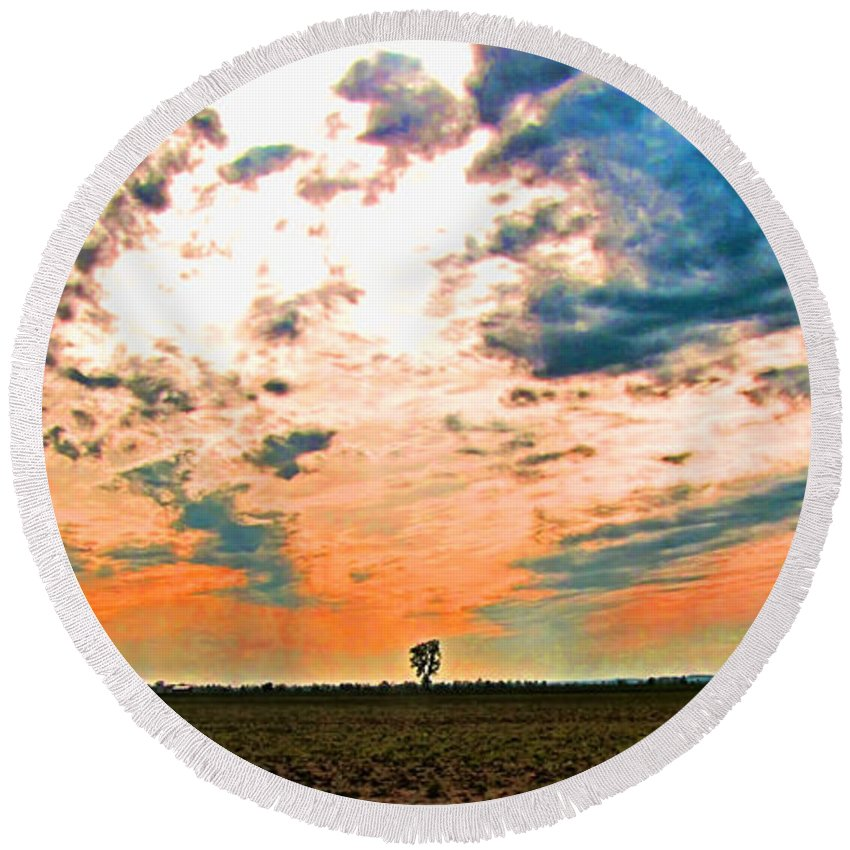 Morning Round Beach Towel featuring the photograph Distant Tree by Debbie Portwood