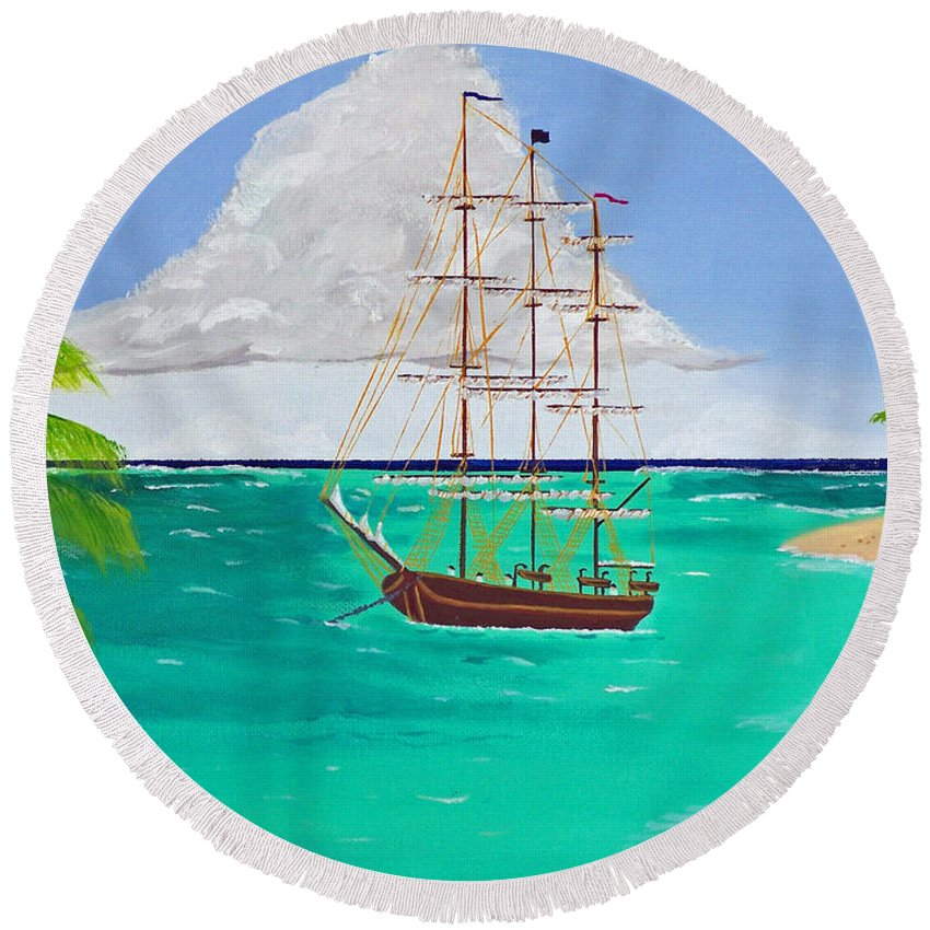 Distressed Round Beach Towel featuring the painting Distressed by Don Monahan