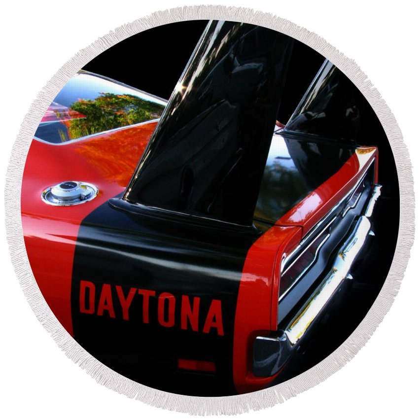 Dodge Daytona Round Beach Towel featuring the photograph Dodge Daytona Fin 02 by Peter Piatt