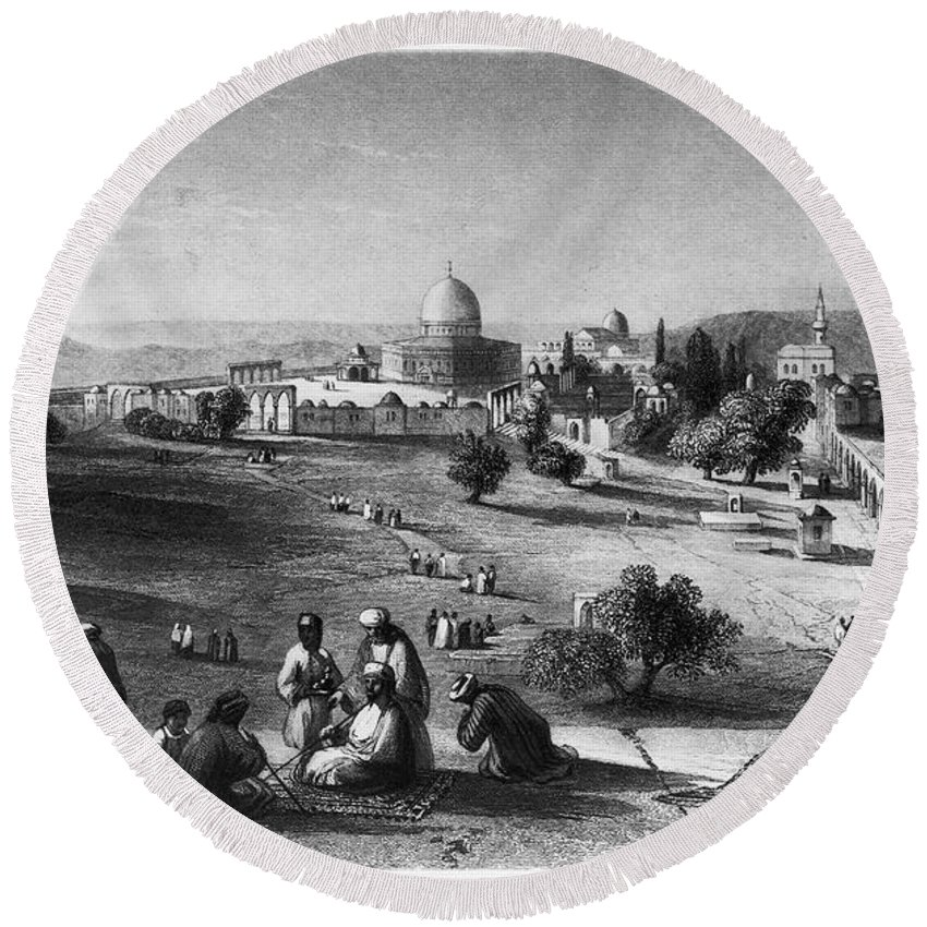 1843 Round Beach Towel featuring the photograph Dome Of The Rock, C1843 by Granger