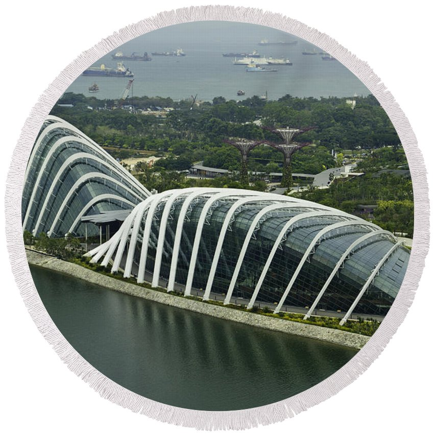 Asia Round Beach Towel featuring the photograph Domes Inside The Gardens By The Bay In Singapore by Ashish Agarwal