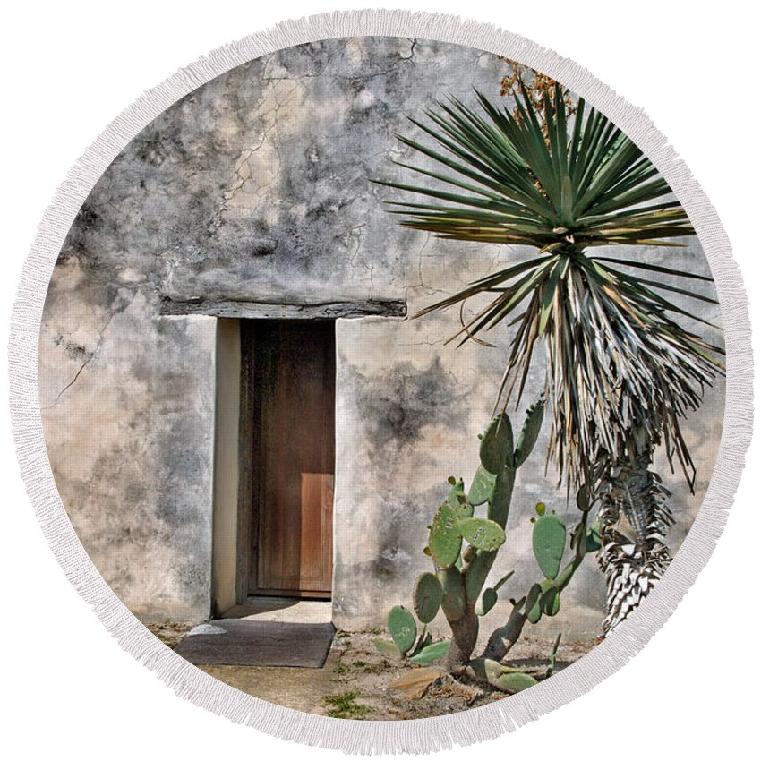 Architecture Round Beach Towel featuring the photograph Door In Spanish Mission Building by Jill Battaglia