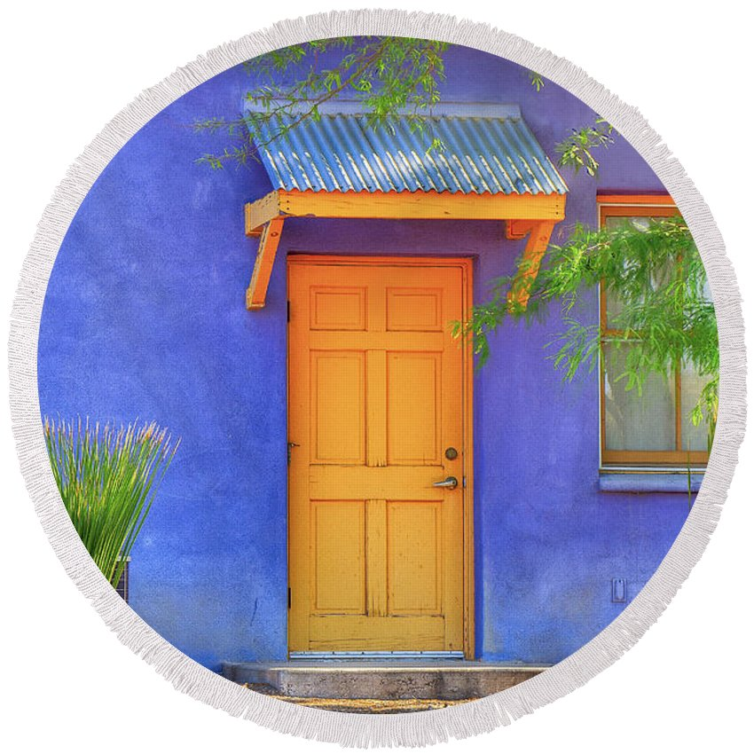 Barrio Round Beach Towel featuring the photograph Doorway 4 by Larry White