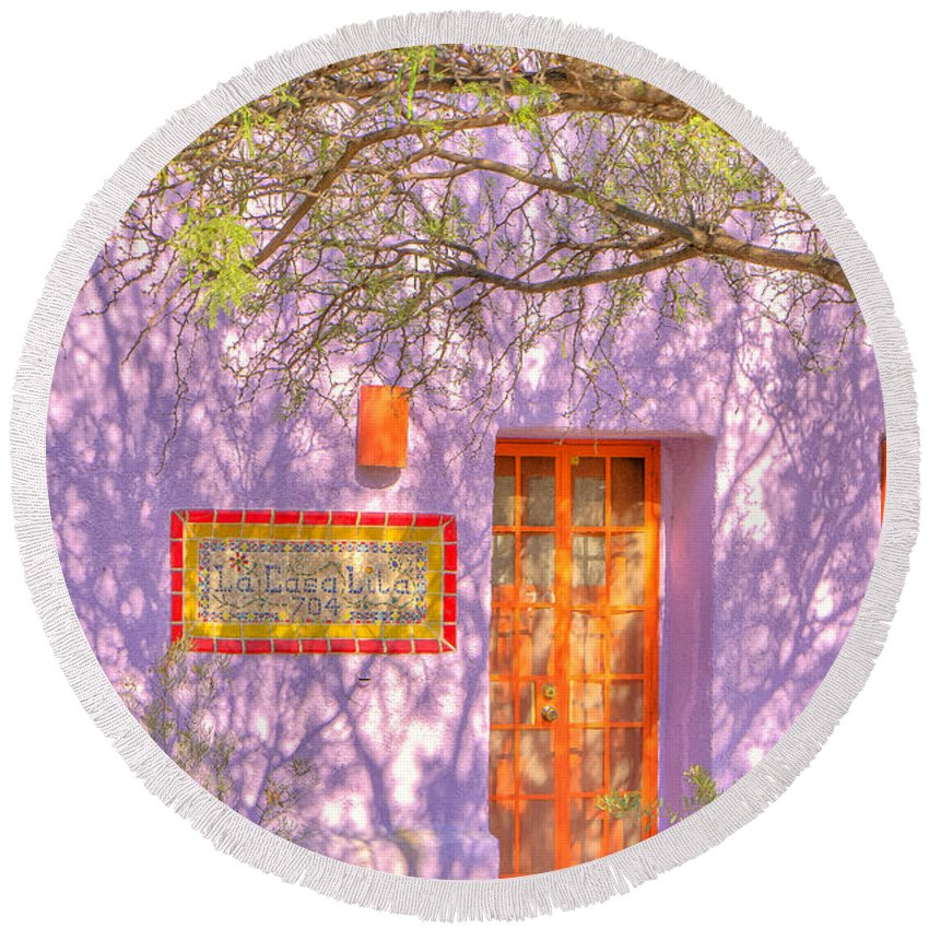 Barrio Round Beach Towel featuring the photograph Doorway 9 by Larry White