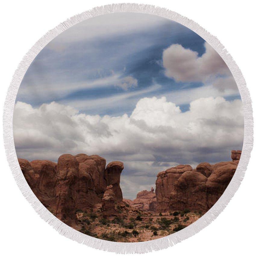 Desert Round Beach Towel featuring the photograph Doorways by Karen Ulvestad