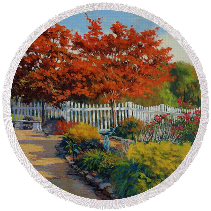 Impressionism Round Beach Towel featuring the painting Dotti's Garden Autumn by Keith Burgess