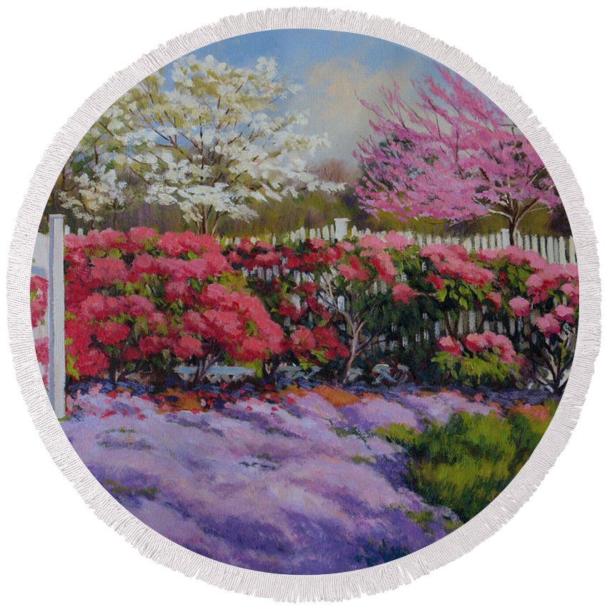 Impressionism Round Beach Towel featuring the painting Dotti's Garden Spring by Keith Burgess