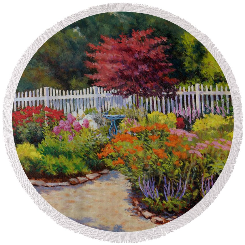Impressionism Round Beach Towel featuring the painting Dotti's Garden Summer by Keith Burgess