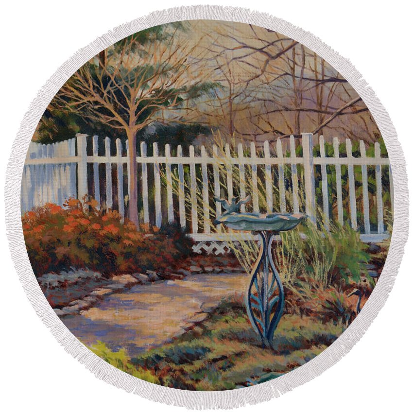 Impressionism Round Beach Towel featuring the painting Dotti's Garden Winter by Keith Burgess