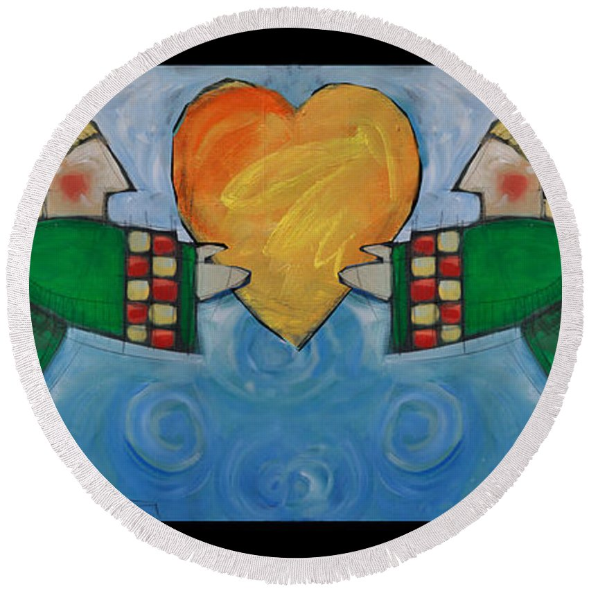 Angel Round Beach Towel featuring the painting Double Angels With Heart by Tim Nyberg