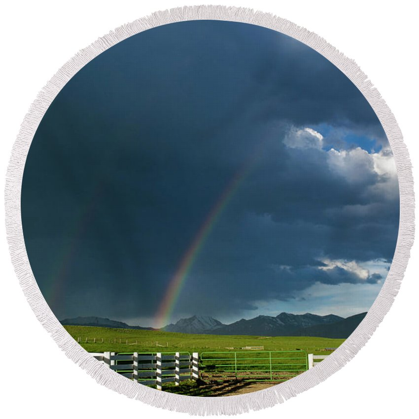 Americas Round Beach Towel featuring the photograph Double Rainbow by Roderick Bley