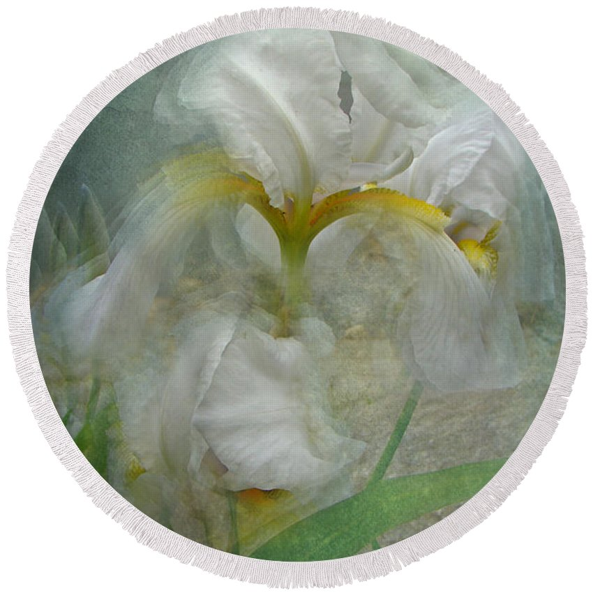 Iris Round Beach Towel featuring the photograph Double Vision by Mother Nature