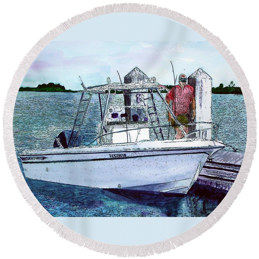 Fishing Round Beach Towel featuring the painting Dougie's Serenity by Mickey Krause